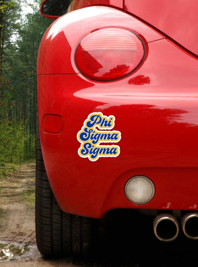 Phi Sigma Sigma Retro Sorority Car Magnet Set of 2