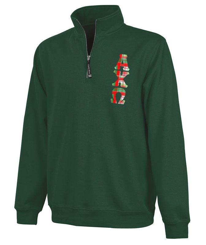 Alpha Chi Omega Crosswind Quarter Zip Twill Lettered Sweatshirt