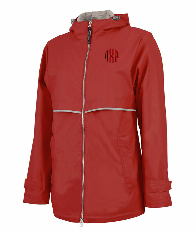 Alpha Chi Omega New Englander Circle Monogram Rain Coat