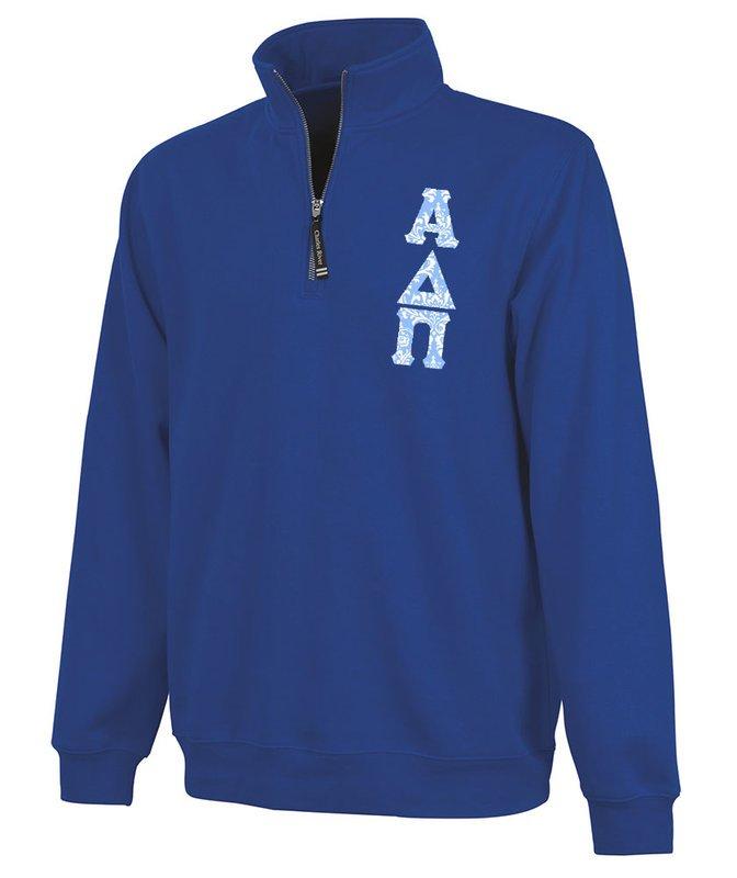 Alpha Delta Pi Crosswind Quarter Zip Twill Lettered Sweatshirt