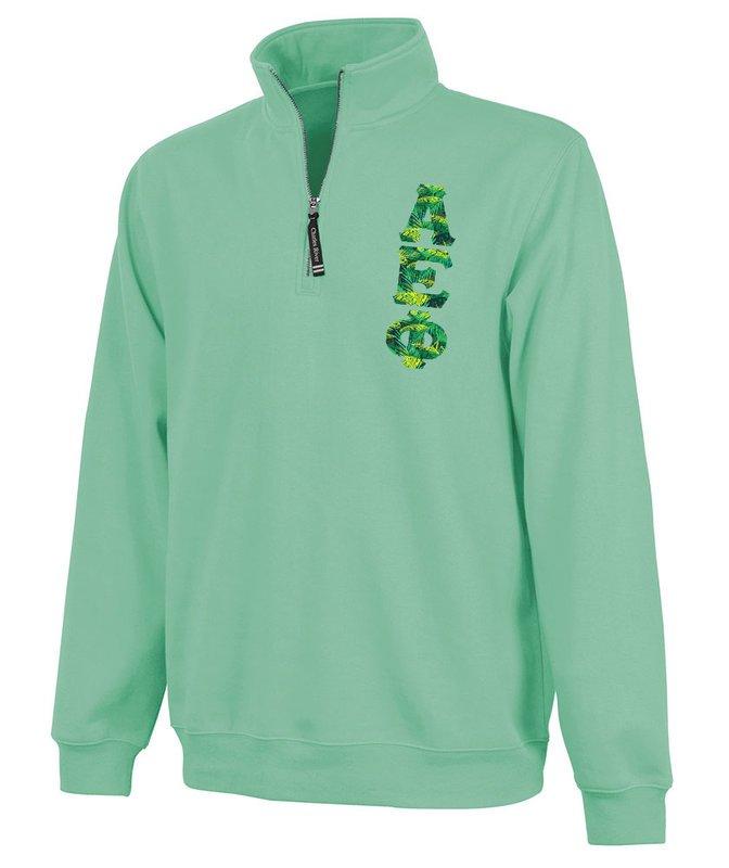 Alpha Epsilon Phi Crosswind Quarter Zip Twill Lettered Sweatshirt