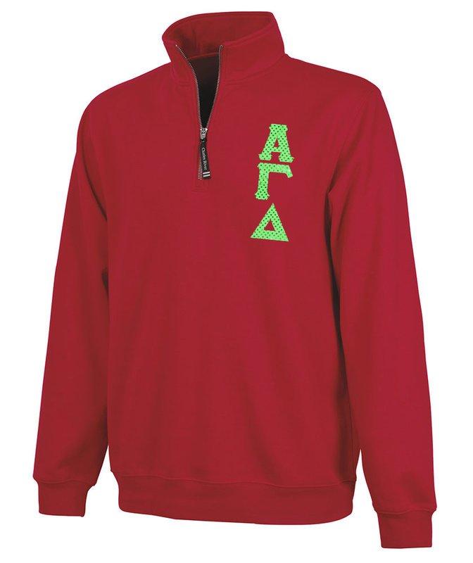 Alpha Gamma Delta Crosswind Quarter Zip Twill Lettered Sweatshirt