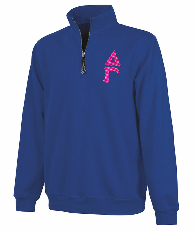 Delta Gamma Crosswind Quarter Zip Twill Lettered Sweatshirt
