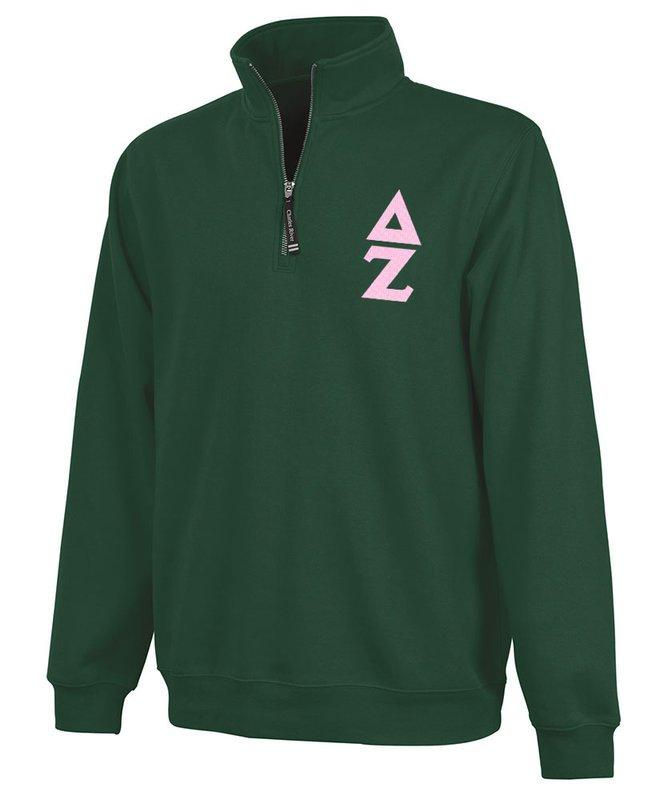 Delta Zeta Crosswind Quarter Zip Twill Lettered Sweatshirt