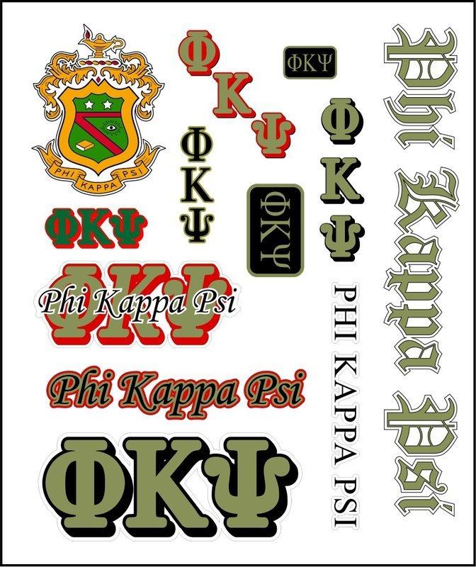 Phi Kappa Psi Multi Greek Decal Sticker Sheet
