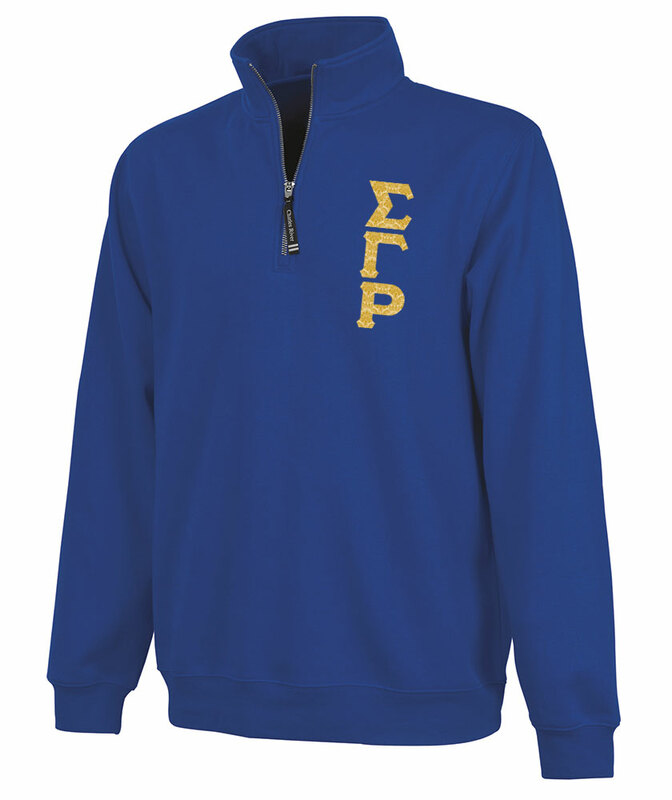 Sigma Gamma Rho Crosswind Quarter Zip Twill Lettered Sweatshirt