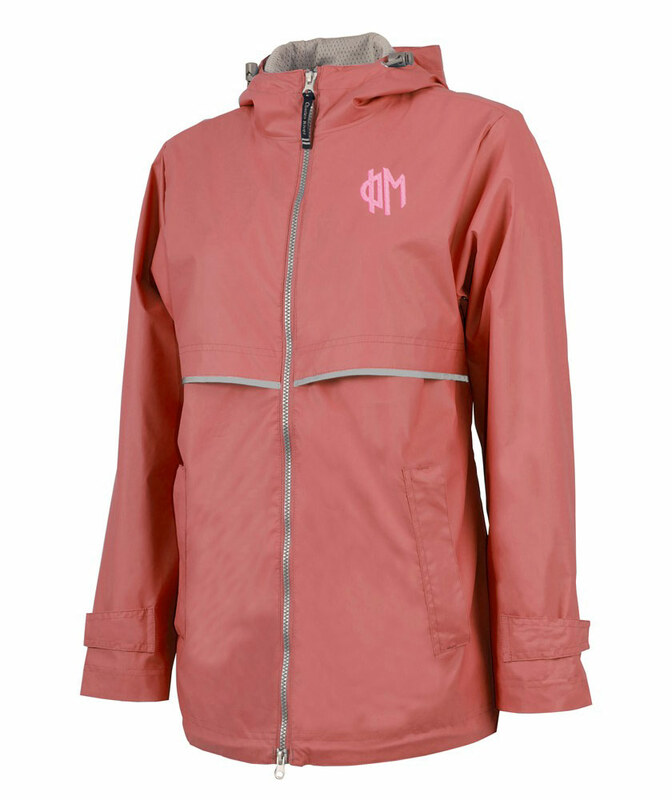 Sorority New Englander Circle Monogram Rain Coat