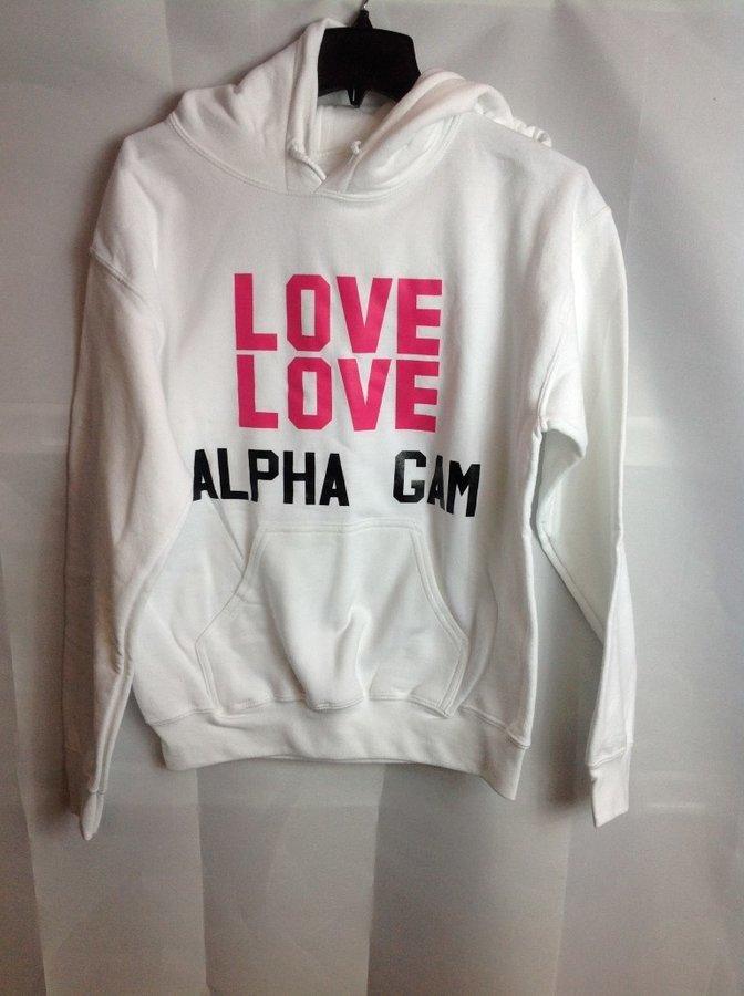 Super Savings - Alpha Gam Love Hooded Sweatshirt - White
