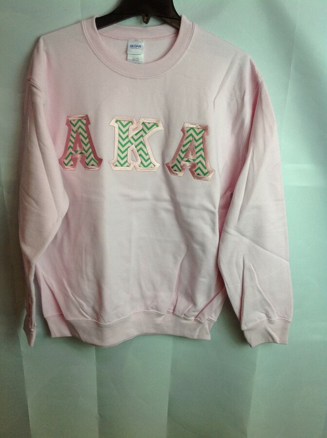 Super Savings - Alpha Kappa Alpha Chevron Lettered Crewneck - Pink - M - 1 of 5