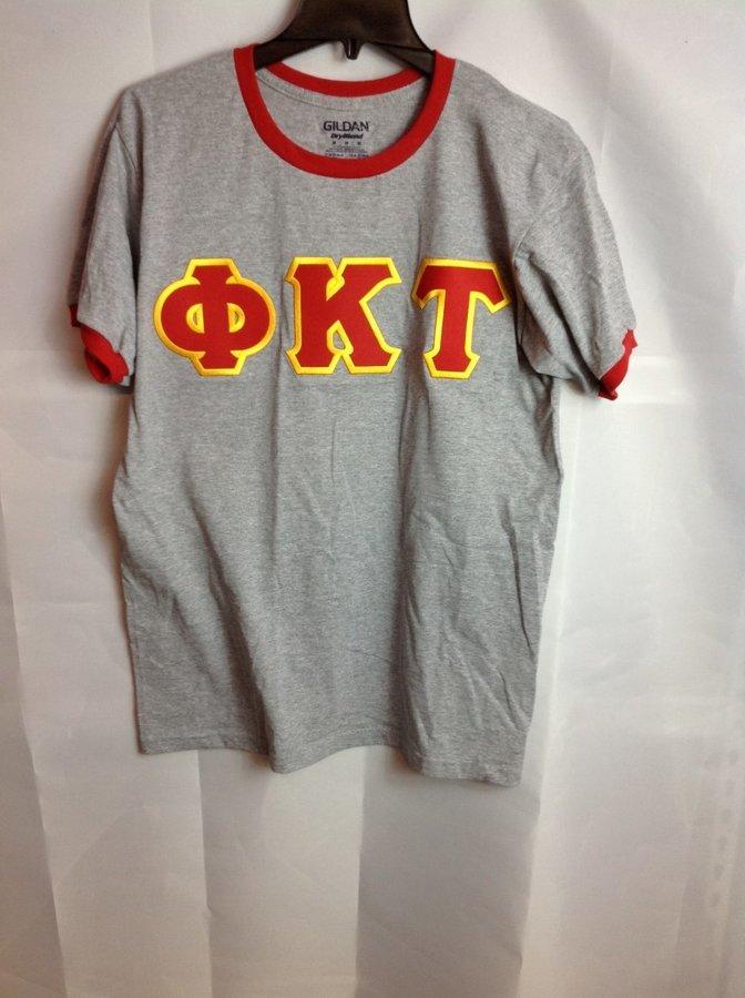 Super Savings - Phi Kappa Tau Lettered Ringer Shirt - Gray - Red
