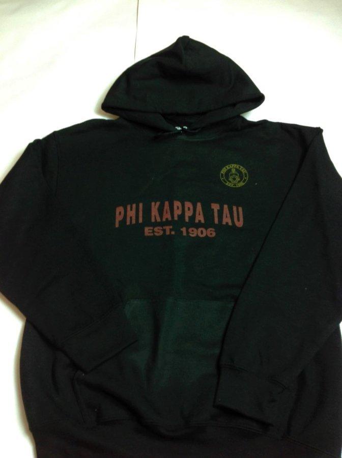 Super Savings - Phi Kappa Tau Printed Founders Hooded Sweatshirt - BLACK
