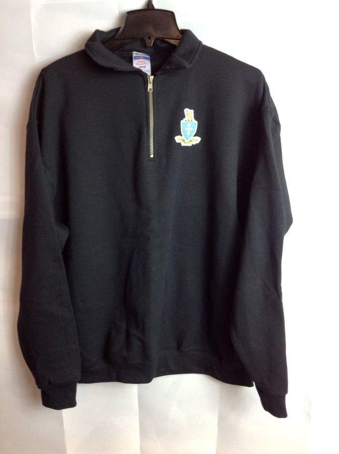Super Savings - Sigma Chi Emblem 1/4 Zip Pullover - L -Black