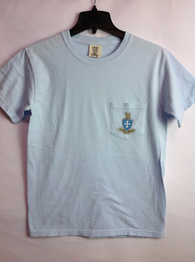 Super Savings - Sigma Chi Short Sleeve Crest - Shield Pocket Tee 1 of 2 SMALL - PASTEL BLUE