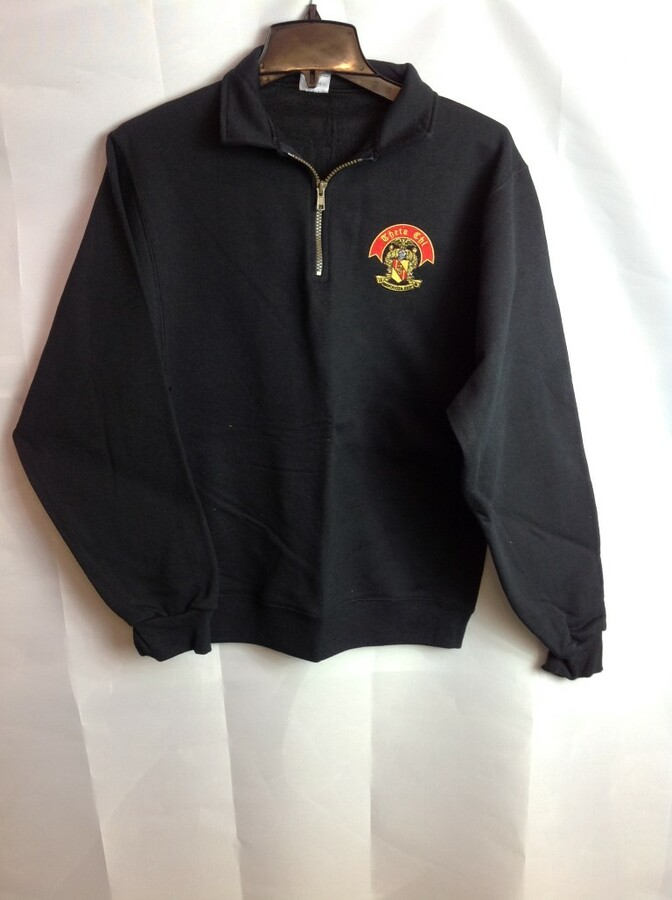 Super Savings - Theta Chi Crest Emblem Quarter Zip Pullover - Black