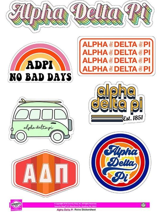 Alpha Delta Pi Retro Sticker Sheet