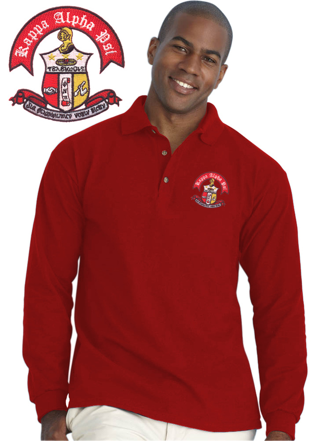 DISCOUNT-Greek Crest Long Sleeve Polo