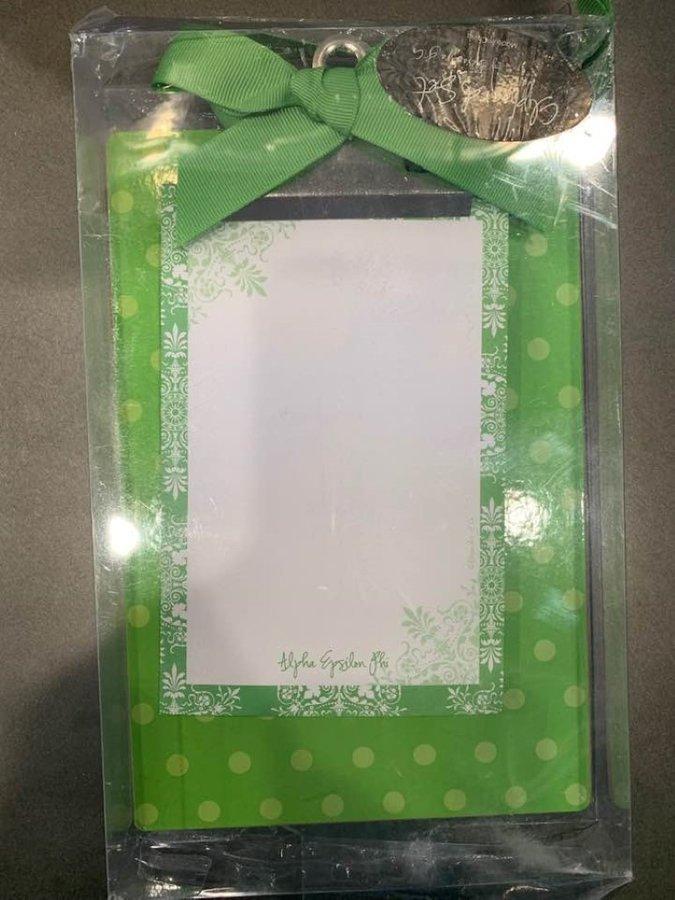 New Super Savings - Alpha Epsilon Phi Notepad with Clipboard - GREEN