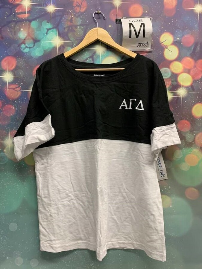New Super Savings - Alpha Gamma Delta Colorblocking Tee - BLACK AND WHITE