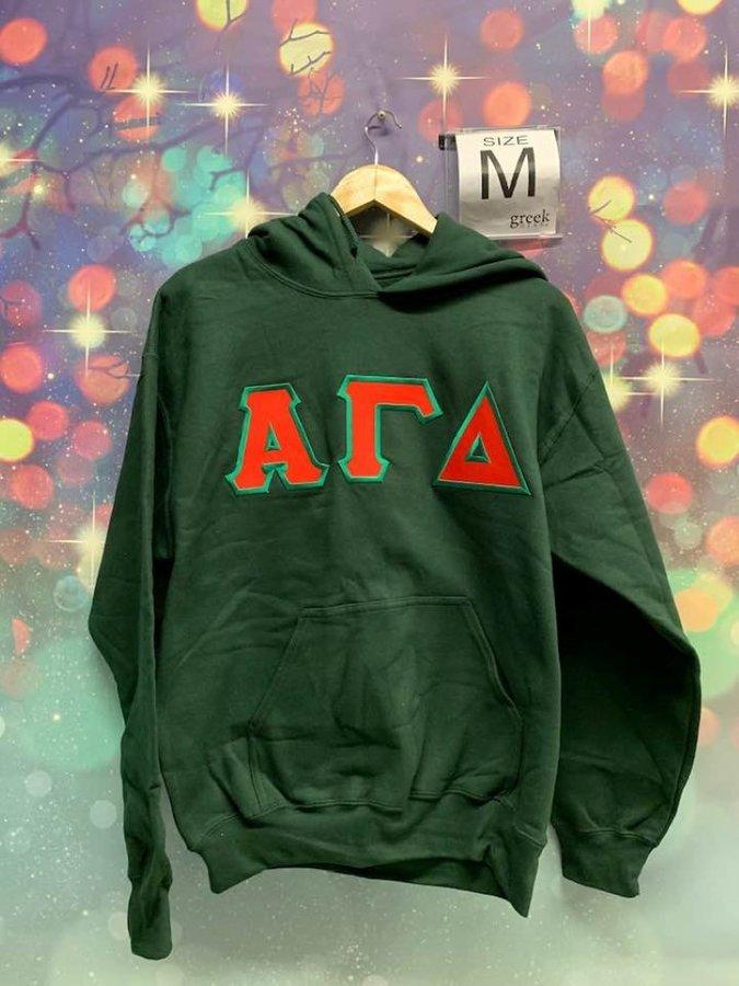 New Super Savings - Alpha Gamma Delta Lettered Sweatshirt Hoodie - GREEN