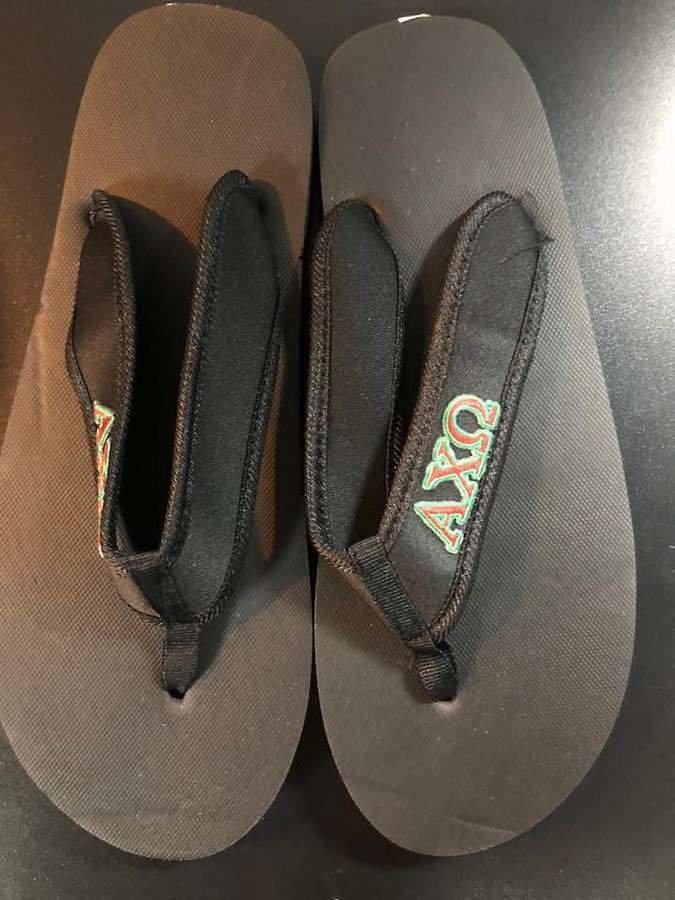 Super Savings - Alpha Chi Omega Flip Flops - BLACK