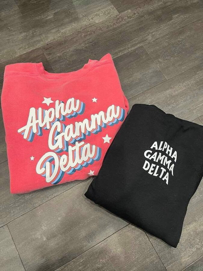 The New Super Savings - Alpha Gamma Delta Hoodie and Comfort Colors Crew Set - BLACK AND WATERMELON