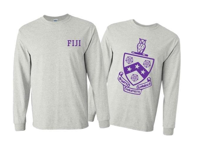 FIJI Fraternity World Famous Crest - Shield Long Sleeve T-Shirt- $19.95!