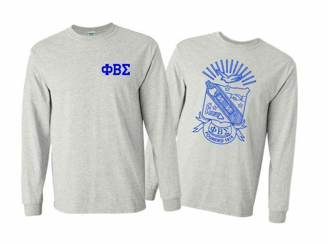 Phi Beta Sigma World Famous Crest - Shield Long Sleeve T-Shirt- $19.95!