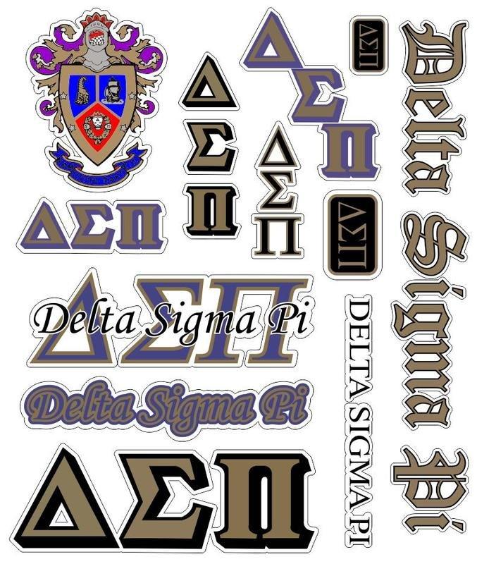 Delta Sigma Pi Multi Greek Decal Sticker Sheet