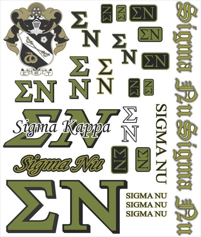 Sigma Nu Multi Greek Decal Sticker Sheet