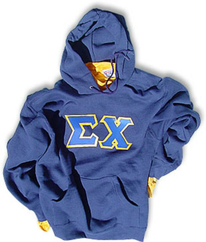 Sigma Chi Sewn Lettered Hooded Sweatshirt