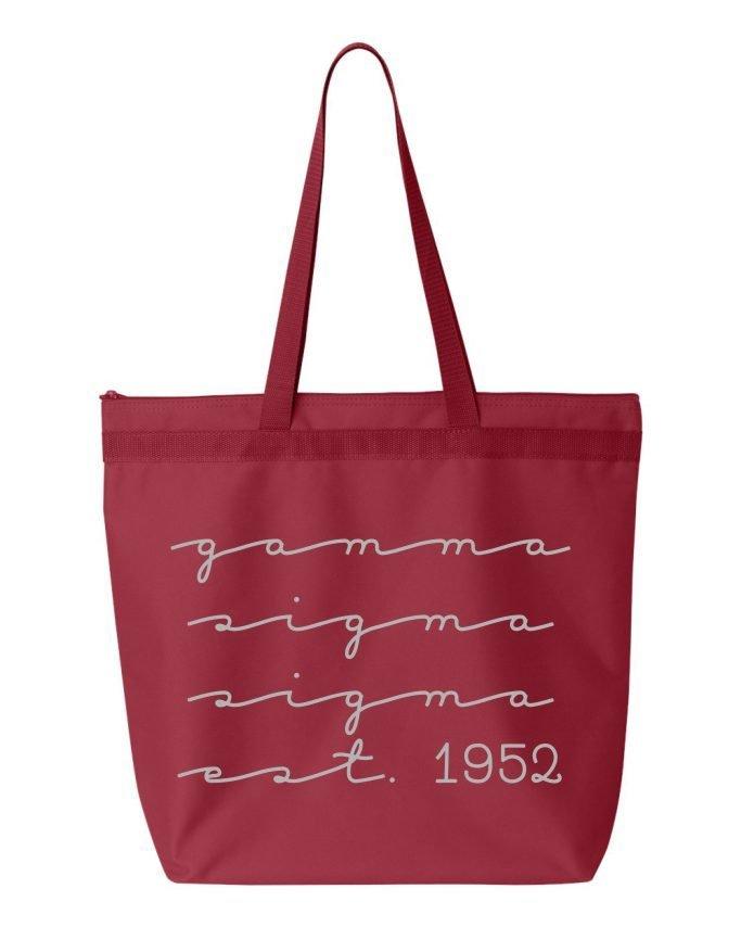 cbbe6ffc9 Gamma Sigma Sigma New Script Established Tote Bag SALE $21.95. - Greek Gear®