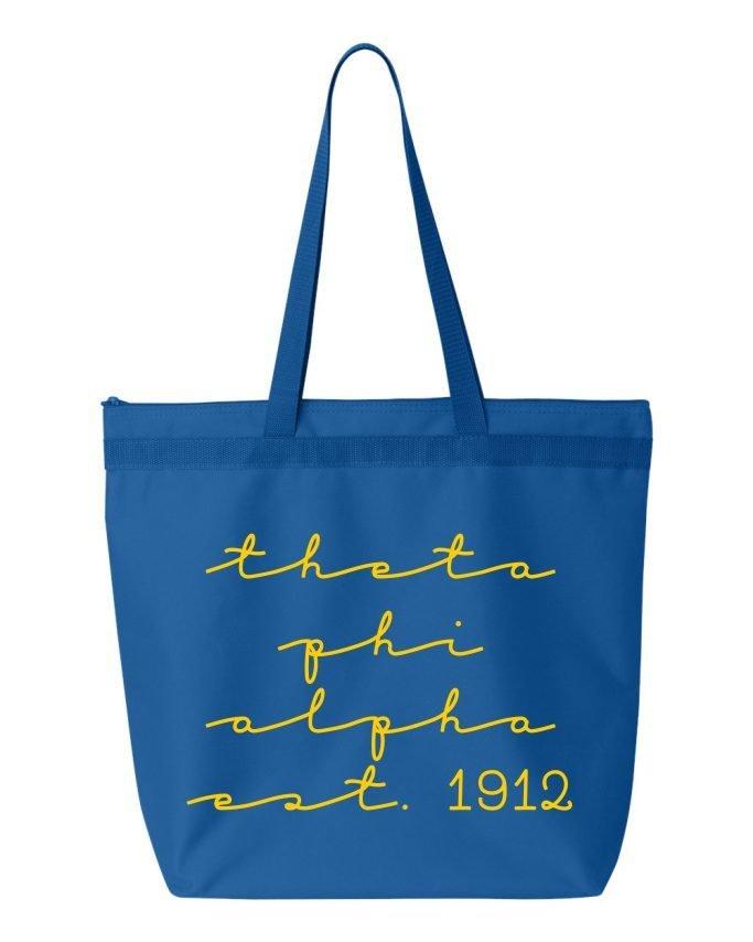 Theta Phi Alpha New Script Established Tote Bag