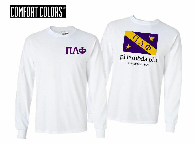 Pi Lambda Phi Flag Long Sleeve T-shirt - Comfort Colors