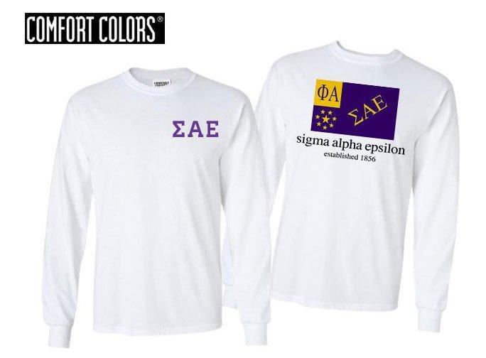 Sigma Alpha Epsilon Flag Long Sleeve T-shirt - Comfort Colors
