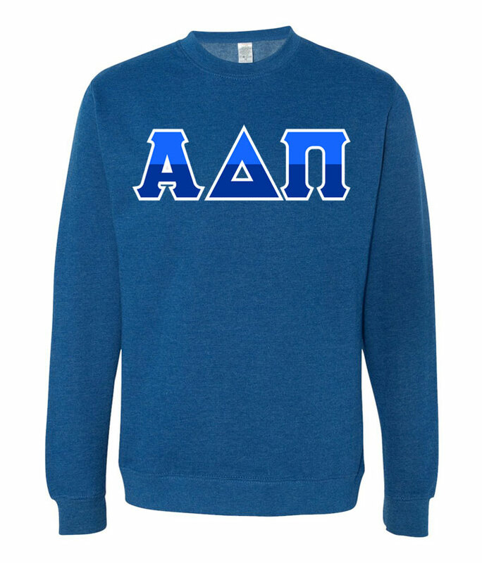 Alpha Delta Pi Two Tone Greek Lettered Crewneck Sweatshirt