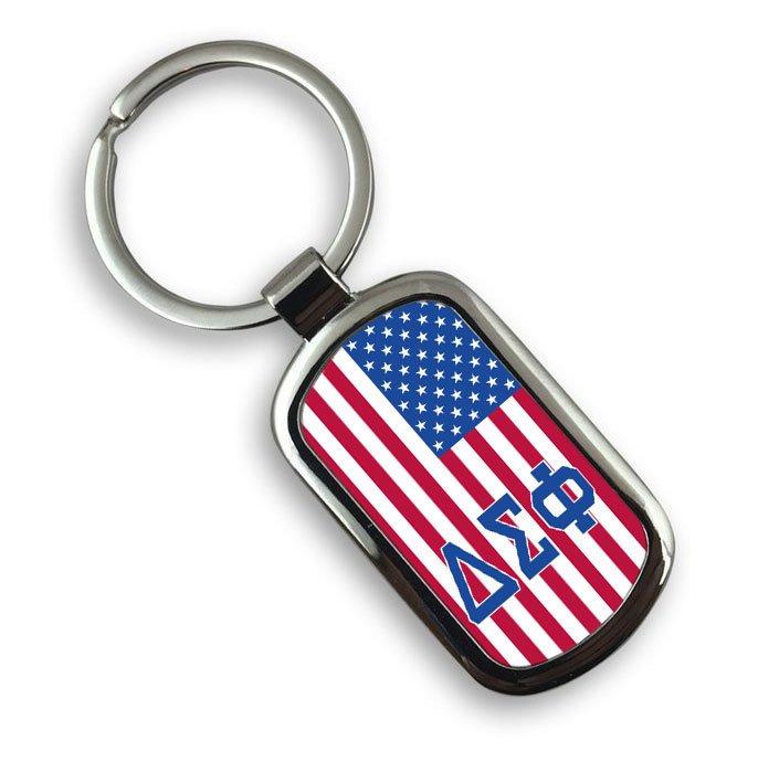 Delta Sigma Phi USA Flag Rectangle Key Ring
