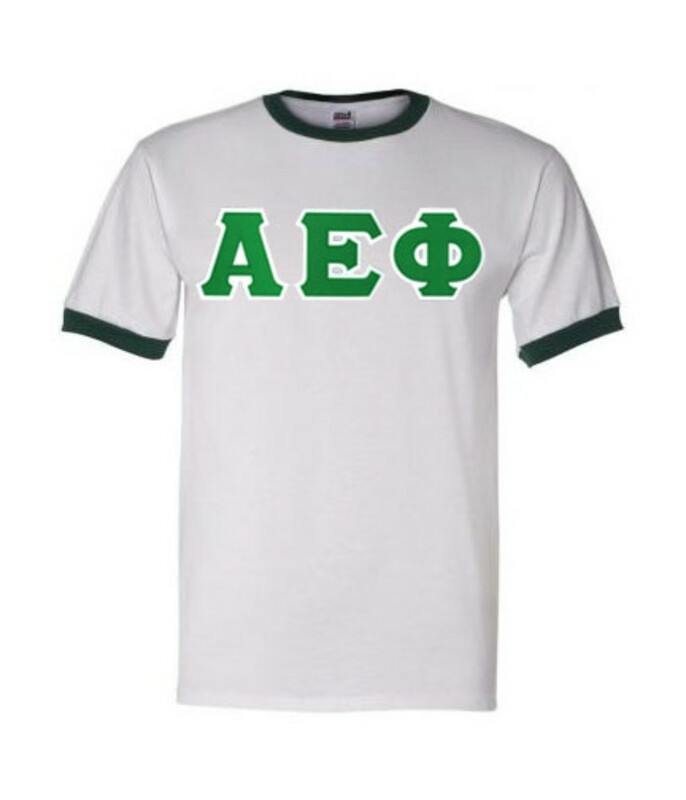 DISCOUNT-Alpha Epsilon Phi Lettered Ringer Shirt