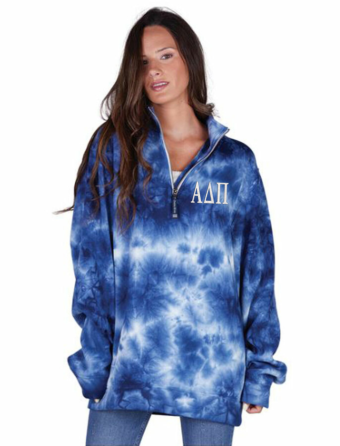 Alpha Delta Pi Crosswind Tie-Dye Quarter Zip Sweatshirt