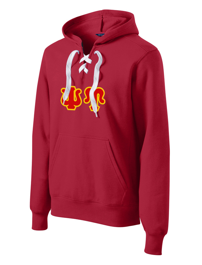 DISCOUNT-Psi Upsilon Lace Up Pullover Hooded Sweatshirt