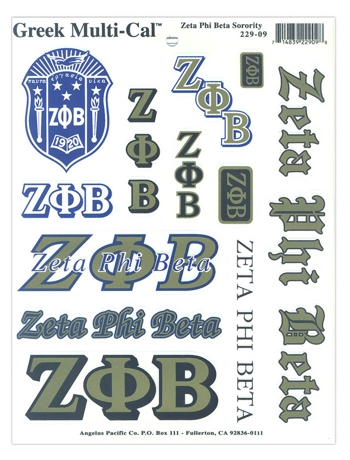 Zeta Phi Beta Multi Greek Decal Sheet