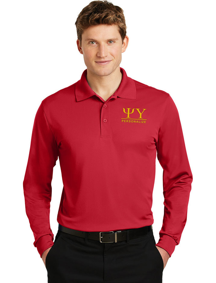 Psi Upsilon- $30 World Famous Long Sleeve Dry Fit Polo