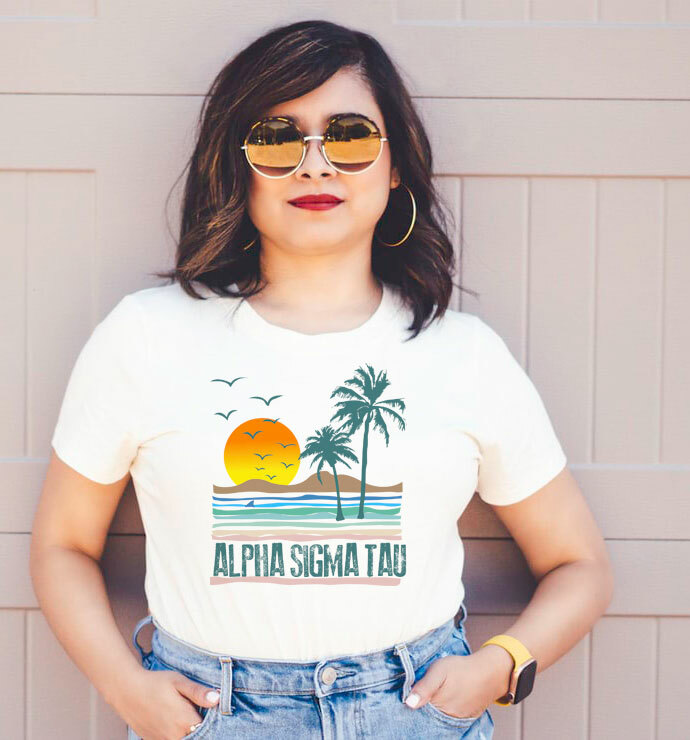 Alpha Sigma Tau Beaches Tee - Comfort Colors