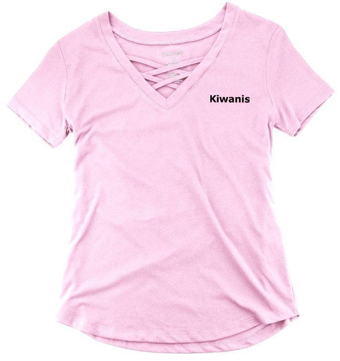 Kiwanis Ladies Caged Front Tee SALE $22 95  - Greek Gear®