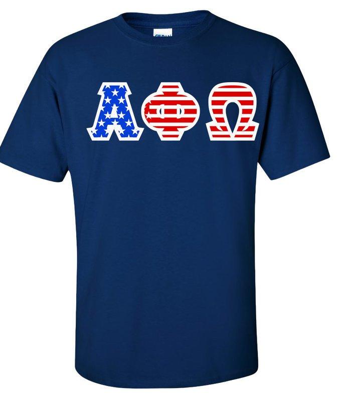 Alpha Phi Omega Greek Letter American Flag Tee