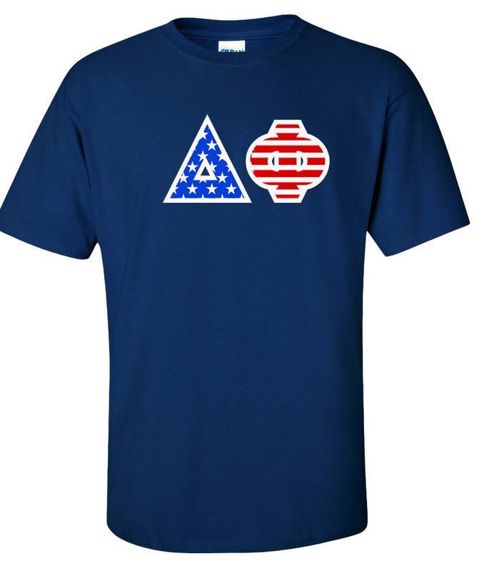Delta Phi Greek Letter American Flag Tee