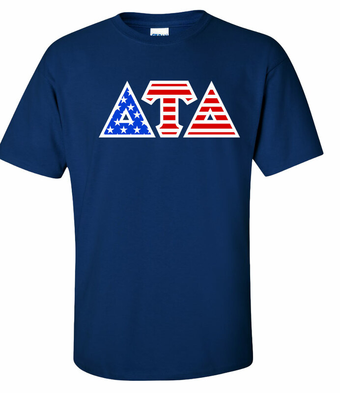 DISCOUNT-Delta Tau Delta Greek Letter American Flag Tee