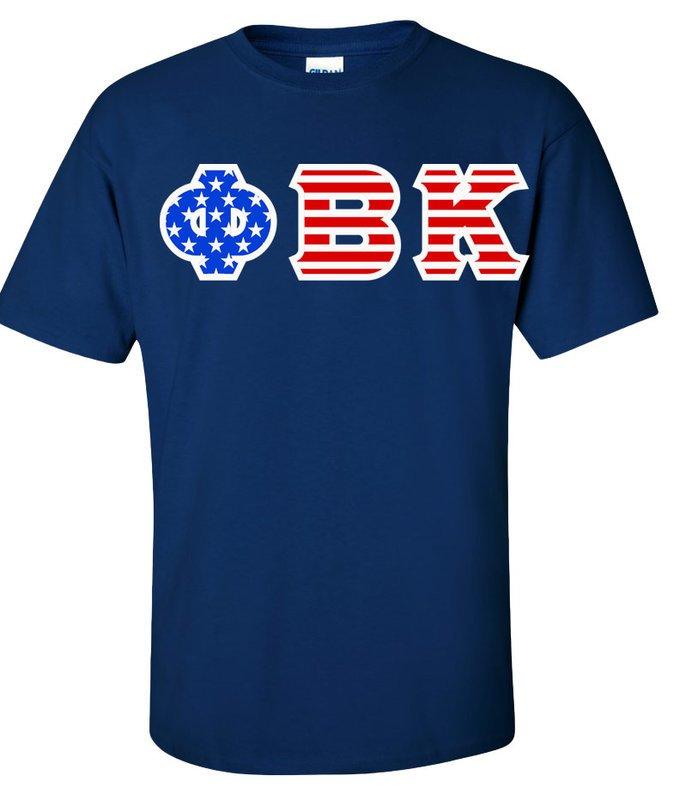 Phi Beta Kappa Greek Letter American Flag Tee