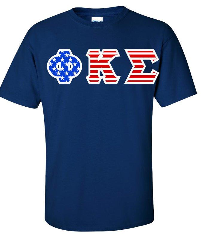 DISCOUNT-Phi Kappa Sigma Greek Letter American Flag Tee