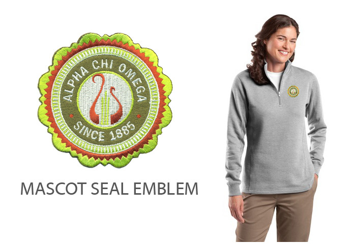 DISCOUNT-Alpha Chi Omega Crest - Shield Patch 1/4 Zip Pullover