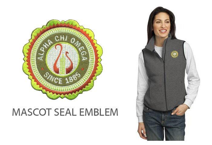 DISCOUNT-Alpha Chi Omega Crest - Shield Patch Ladies Fleece Vest